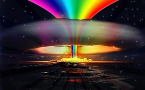 Picture the explosion, rainbow, Nuclear, rainbow, explosion