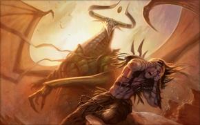 Wallpaper Todd Lockwood, Cruel Ultimatum, blow, wings, the demon, armor, contempt, lose, male, Creek, Horny, greatness, ...