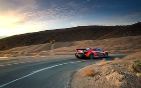 Picture McLaren, Orange, Race, Sunset, Death, Sand, Supercar, Valley, Hypercar, Exotic, Rear, Volcano