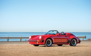 Picture car, 911, Porsche, red, cabrio, Speedster, 1989