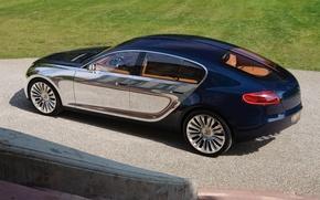 Picture machine, Bugatti, blue, mirror