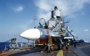 Picture deck, the plane, Su-33, Navy, carrier, deck
