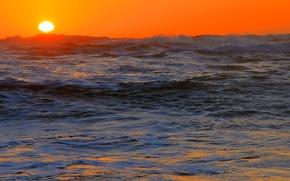 Wallpaper sea, wave, the sun, sunset