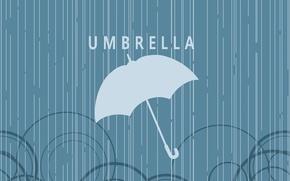 Picture circles, rain, the inscription, Umbrella