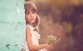 Picture look, flowers, girl, bokeh