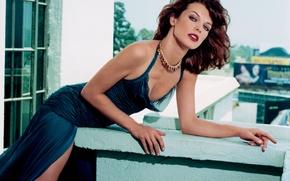 Picture the city, pose, actress, balcony, Milla Jovovich, Milla Jovovich