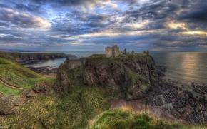 Wallpaper sea, clouds, sunset, rock, castle, coast, Scotland, horizon, panorama, rock, Of dunnottar, Dunnottar Castle