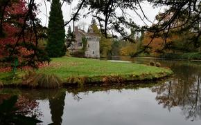 Picture autumn, lake, Park, England, colors, UK, park, autumn, lake, England, Scotney Castle, Lamberhurst, Lamberhurst, Scotney …