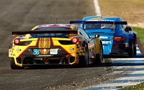 Picture 911, Porsche, Ferrari, Ferrari, Porsche, 458, rear view, Italia, racing car, GTC