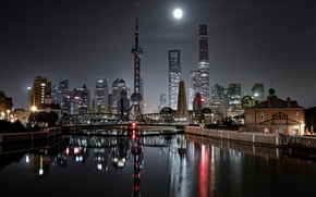 Picture lights, China, bridge, night, the city, Shanghai