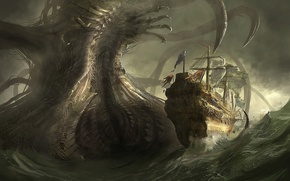Picture sea, danger, ship, monster, art, giant