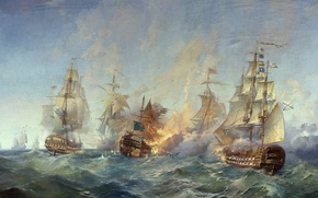 Wallpaper The battle, Sailboats, Navy, Ships