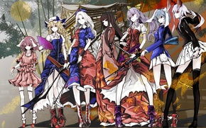 Picture girls, group, anime, art, touhou