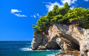 Picture sea, the sky, clouds, trees, rock