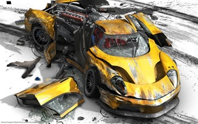 Wallpaper broken, Burnout Paradise, disaster, yellow, crash
