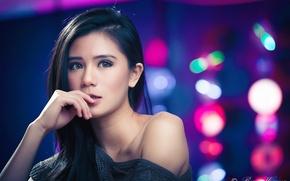 Picture girl, model, Asian, bokeh
