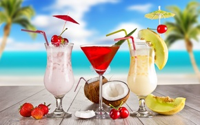 Wallpaper summer, cocktail, summer, food, melon, cherry, strawberry, cocktail, fruits, glasses, coconut, cocktails