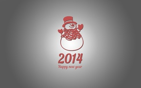 Picture new year, Minimalism, snowman, new year, snowman, Christmas