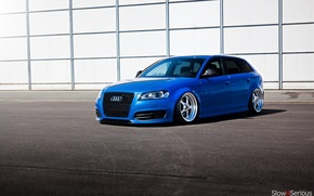 Picture Audi, audi, wheels, blue, tuning, front, face, low, stance, clean