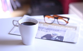 Wallpaper glasses, Cup, newspaper