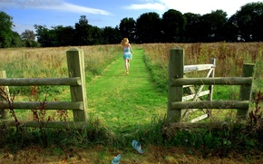 Picture field, grass, girl, fence, running, Slippers