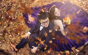 Wallpaper pair, wedding, girl, guy, autumn, leaves
