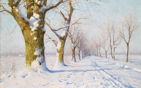 Picture winter, snow, trees, picture, painting, Walter Moras
