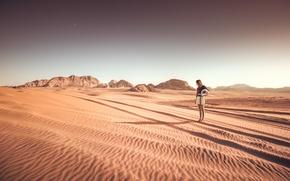 Wallpaper dry, helmet, desert, solar, Sands, hair, skirt, girl, shadow, hills, stars