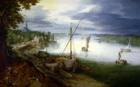 Wallpaper picture, boat, Jan Brueghel the younger, river, landscape, View on the Scheldt near Antwerp