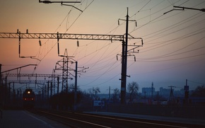 Wallpaper VL80, Rostov-on-don, the way, electric, railroad, sunset