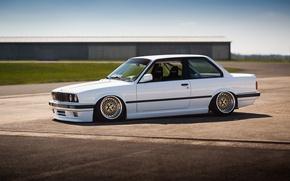 Picture BMW, white, E30, BBS, stance