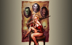 Wallpaper the gun, Halloween, girl, Frankenstein, werewolf, Dracula, trophies