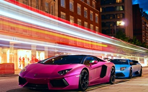 Picture road, light, night, the city, the evening, Lamborghini, excerpt, Lamborghini, roadside, stores, Lamborghini, LP700-4, Aventador, ...