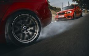 Picture BMW, Orange, Red, Race, Cars, Smoke, Drifting