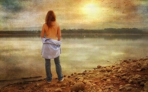 Picture girl, style, river