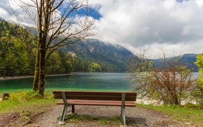 Picture the sky, clouds, mountains, lake, Park, bench
