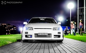 Picture white, tuning, GT-R, Nissan, the front, Nissan Skyline, R34