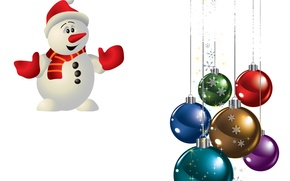 Picture balls, holiday, snowman, snowflake