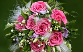 Picture flowers, recognition, wedding, tenderness, pink roses, the bride, beauty, holiday, gift, leaves, gentle, beautiful, beautiful, ...