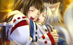 Picture joy, hugs, priestess, ears, art, hiiro no kakera, yone kazuki, youkai, tamaki benefits, o-chan