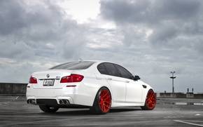 Picture white, the sky, clouds, BMW, BMW, white, back, f10