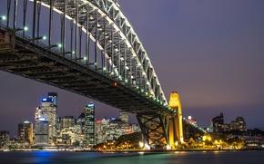 Picture Australia, bridge, Sydney Harbour Bridge, Sydney, night city, Australia