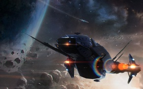 Picture space, planet, art, spaceship, sci-fi, the asteroid belt