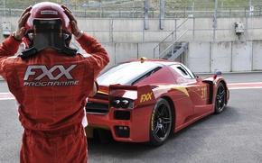 Picture red, track, helmet, Ferrari, red, Ferrari, racer, fxx, track, pearls, racer