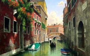 Picture water, flowers, bridge, Windows, home, picture, boats, Italy, Venice, channel, gondola, balconies, Mark Pettit