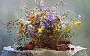 Picture summer, flowers, bouquet, still life, cherry, nectarine