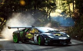 Wallpaper Lamborghini Murciélago, speedhunters, speed, road, Drift Machine, Liberty Walk, smoke, dust, skid