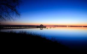 Picture the sky, sunset, shore, the evening, horizon, pierce, VA, Bay, calm, USA, blue, Virginia