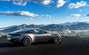 Picture Aston Martin, The sky, Clouds, Cars, Silver, 2016, Aston Martin DB11