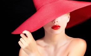Picture girl, face, model, lipstick, lips, black background, shoulders, neck, red hat